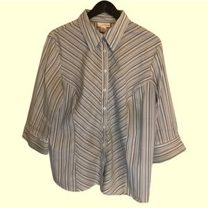Carroll Reed 3/4 sleeve blue striped blouse